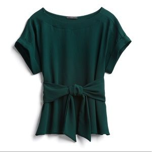 Dark Green Short Sleeve Blouse with Front Tie